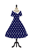 Retro dress on a hanger, dotted design, polka dots, hand drawing.  Stock Photos