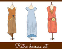 Retro dresses set Stock Images