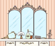 Retro dressing table vector. Mirror and hairbrush, perfumes and cosmetics. Furniture interior dressing table with mirror in retro style vector illustration stock illustration