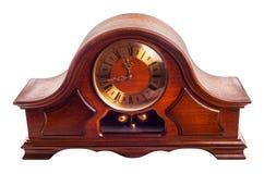 Retro drewniany zegar - odosobniony zdjęcie stock