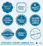 Retro Drinking Water Labels and Stickers. Collection of vintage style drinking water labels and badges Stock Photos