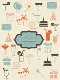 Retro drinks icons with banner Royalty Free Stock Photos