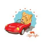 Retro driver automatico del gatto selvaggio illustrazione vettoriale