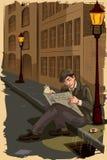 Retro dronken krant van de mensenlezing op straat royalty-vrije illustratie