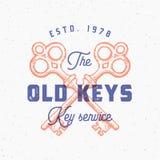 Retro- Druck-Effekt-altes Schlüssel-Zeichen Abstraktes Vektor-Zeichen, Symbol oder Logo Template Hand gezeichnete gekreuzte Schlü Lizenzfreie Stockfotografie