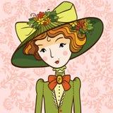 Retro dziewczyna w kapeluszu Zdjęcia Stock