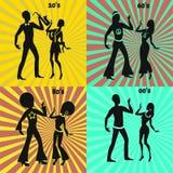 Retro e coppie moderne di dancing Immagini Stock