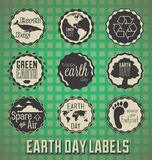 Retro Earth Day Labels and Icons. Collection of retro style Earth Day labels with green grid background Stock Image