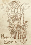 Retro Easter card with air Balloon Royalty Free Stock Photo