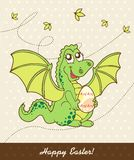 Retro easter card with dragon Royalty Free Stock Photos