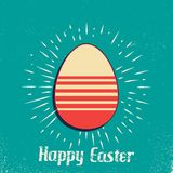 Retro easter egg card illustration for holiday background. Creative and vintage style image vector illustration