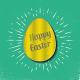 Retro easter egg card illustration for holiday background. Creative and vintage style image royalty free illustration
