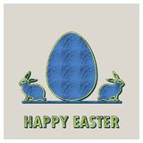 Retro easter egg and rabbits card illustration for holiday background. Retro easter egg and rabbits illustration for holiday background. Creative and vintage vector illustration