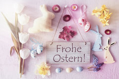 Retro Easter Flat Lay, Flowers, Frohe Ostern Means Happy Easter Royalty Free Stock Image