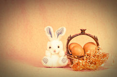 Retro Easter królik Zdjęcia Stock