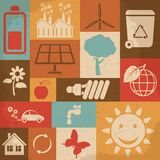 Retro ecology icon set. Vector illustration Royalty Free Stock Images