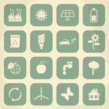 Retro ecology icon set. Vector illustration Stock Photography