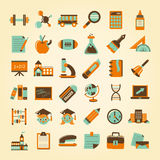 Retro education icons set,back to school Stock Photo