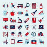 Retro education icons set,back to school Stock Image