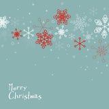 Retro eenvoudige Kerstkaart met sneeuwvlokken Stock Foto's