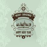 Retro eenvoudige uitstekende Vrolijke kaart van de Kerstmisgroet met Gelukkig Nieuwjaar Stock Afbeeldingen