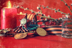 Retro effect on medals composition from Great Patriotic War Royalty Free Stock Photo