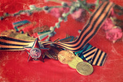 Retro effect on medals composition from Great Patriotic War Royalty Free Stock Image