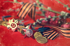 Retro effect on medals composition from Great Patriotic War Stock Photo