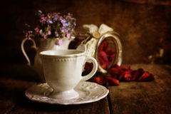 Retro effect on photo vintage tea with rose dry petal Royalty Free Stock Photo