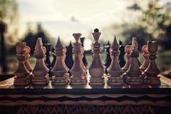 Retro- Effektfoto des Schachs an Bord des Konzeptes Lizenzfreie Stockbilder