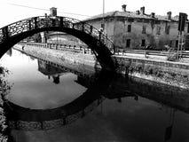 Retro effektsikt för tappning av en gammal bro över Naviglio Pavese i Milan med forntida hus på den svartvita bakgrunden - arkivbild