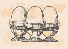 Retro eggs in kitchen Royalty Free Stock Images