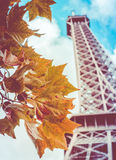 Retro Eiffel Tower In The Fall Stock Photography