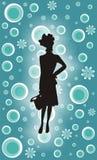 Retro- Einkaufen-Mädchen Stockfoto