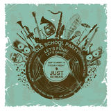 Retro- Einladung mit Musikinstrumenten und Vinylaufzeichnung Lizenzfreies Stockfoto
