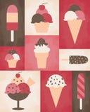Retro Eiscreme-Plakat Stockfoto