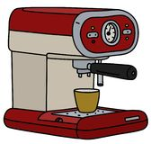 The retro electric espresso maker. The vectorized hand drawing of a retro red and cream electric espresso maker and the yellow cup royalty free illustration