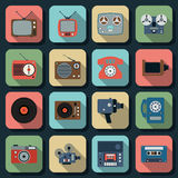 Retro electronic flat vector icons Royalty Free Stock Images