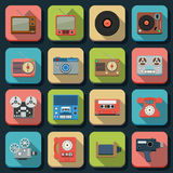 Retro electronic flat vector icons Royalty Free Stock Photos