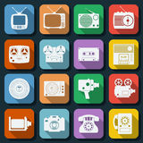 Retro electronic flat web icons Royalty Free Stock Image