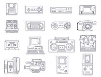 Retro electronic gadgets from 90s in flat linear style. Hipster. Old devices from nineties. Game and media tech things. Trendy vector line icon set Stock Illustration