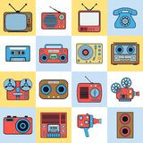 Retro electronic vector icons Royalty Free Stock Photography