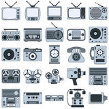 Retro electronic vector icons Royalty Free Stock Images