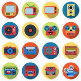 Retro electronic vector icons Stock Photos