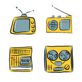 Retro electronics doodles Stock Images