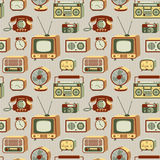 Retro electronics pattern. Retro electronic devices. 20th century gadgets. Vector seamless pattern royalty free illustration