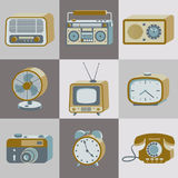 Retro electronics. Set of retro electronic devices. 20th century gadgets. Vector illustration vector illustration