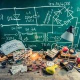 Retro electronics workshop in physics lab Stock Photos