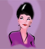 Retro elegant woman portrait in pop art style Royalty Free Stock Photos