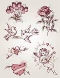 Retro element för valentin dag stock illustrationer